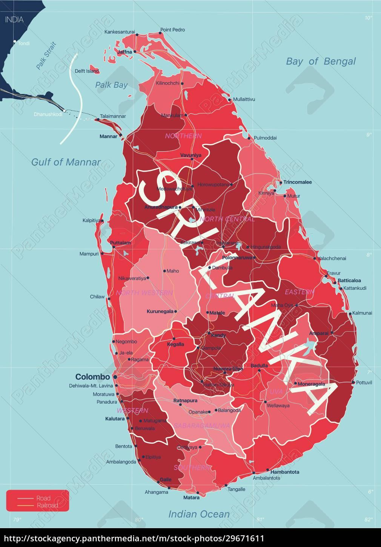 sri, lanka, detailed, editable, map - 29671611