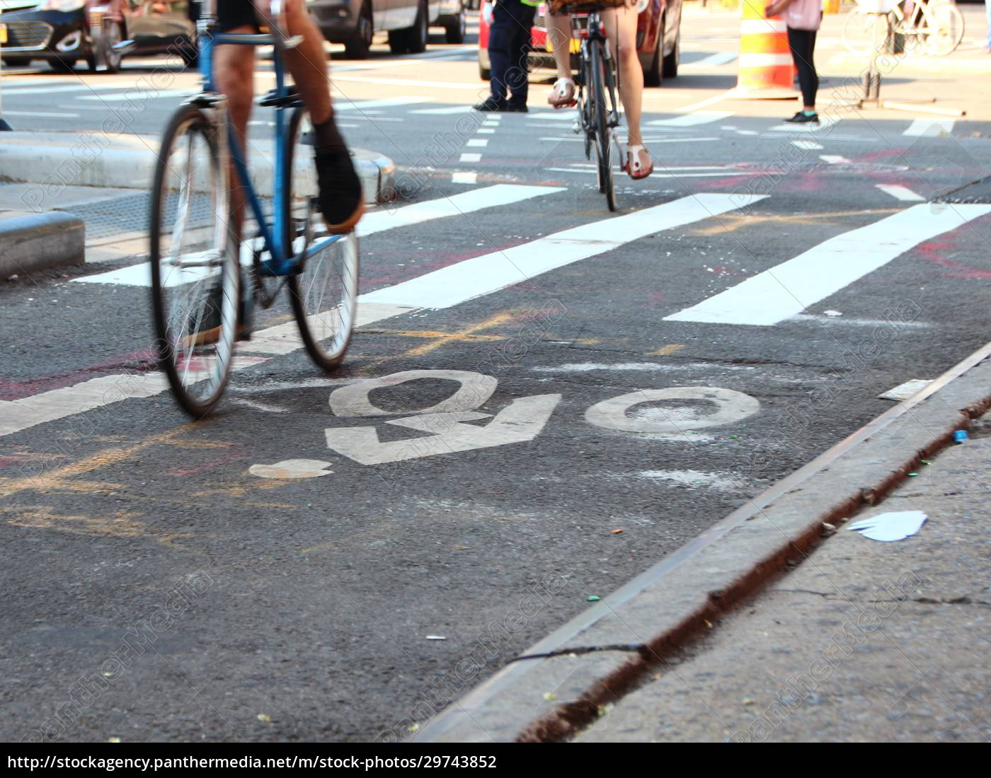cyclists, on, bike, lane, with, white - 29743852