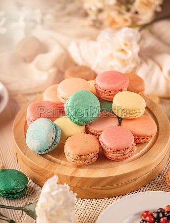 macarons franceses com diferentes recheios saborosos