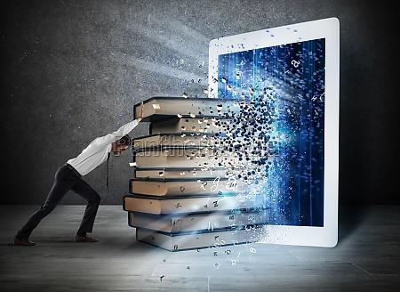 lendo, livros, com, um, e-book - 29873670