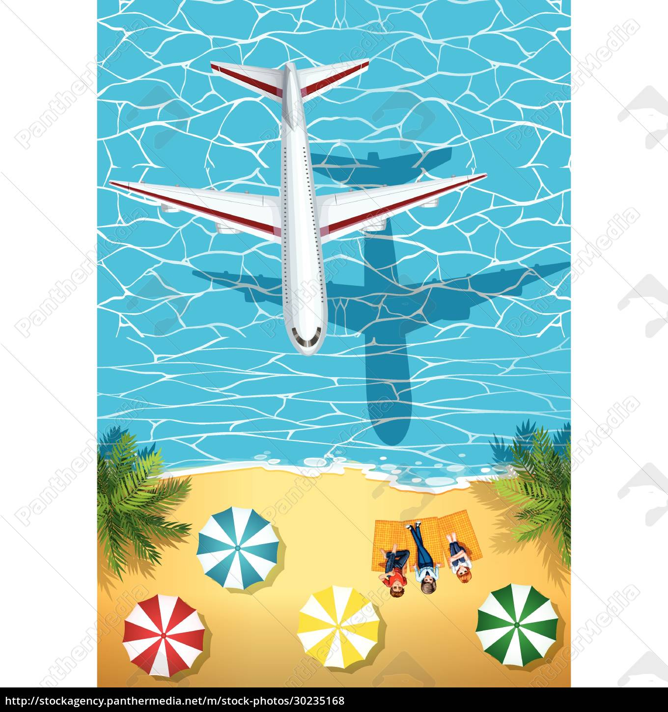 airplane, flying, over, the, ocean - 30235168