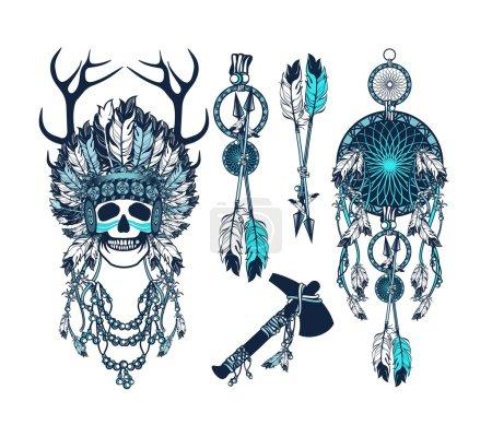 Vector, ilustração, etnia, Resumo, cabeça, velho - B95065822